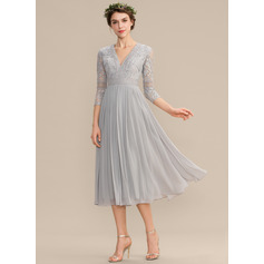 A-Line V-neck Tea-Length Chiffon Lace Bridesmaid Dress With Pleated (007176760)
