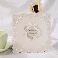 Heart Style Top Fold Invitation Cards With Ribbons  (114032365)