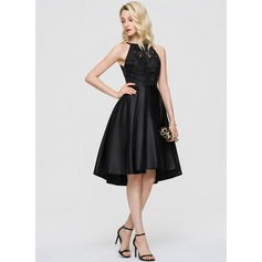 A-Line Scoop Neck Asymmetrical Satin Cocktail Dress With Sequins Pockets (016197092)