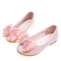Round Toe Closed Toe Microfiber Leather Flat Heel Flats Flower Girl Shoes With Bowknot Crystal