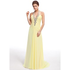 A-Line/Princess Halter Sweep Train Chiffon Evening Dress With Ruffle Beading