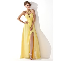A-Line/Princess Sweetheart Floor-Length Chiffon Prom Dress With Ruffle Beading Split Front (018005352)
