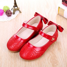 Girl's Leatherette Flat Heel Round Toe Flats With Bowknot Velcro Embroidery