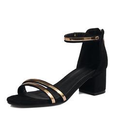Frauen Veloursleder Stämmiger Absatz Sandalen Absatzschuhe Peep Toe mit Reißverschluss Schuhe