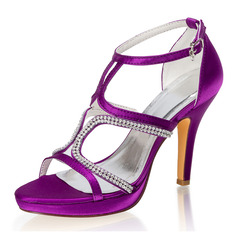 Women's Silk Like Satin Stiletto Heel Peep Toe Platform Pumps With Buckle Rhinestone