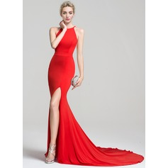 Trumpet/Mermaid Scoop Neck Court Train Jersey Evening Dress With Split Front (017094031)