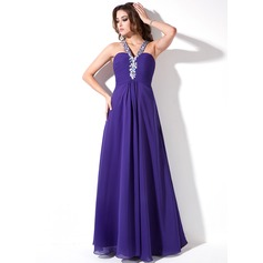 A-Line/Princess V-neck Floor-Length Chiffon Prom Dress With Ruffle Beading