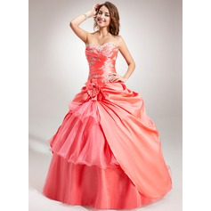 Ball-Gown Sweetheart Floor-Length Taffeta Organza Quinceanera Dress With Embroidered Beading Flower(s) Cascading Ruffles