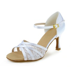 Women's Satin Lace Heels Sandals Latin With Buckle Dance Shoes