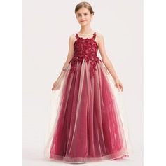 A-Line Scoop Neck Floor-Length Tulle Lace Junior Bridesmaid Dress With Sequins