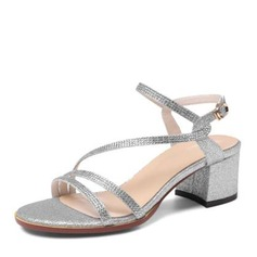 Women's Leatherette Chunky Heel Sandals With Buckle