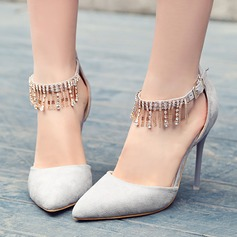 Women's Suede Stiletto Heel Pumps Closed Toe With Chain shoes