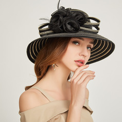 Ladies ' Glamourøse/Classic Papyrus med Fjer/Blomst Strand / Sun Hatte/Kentucky Derby Hatte/Tea Party Hats