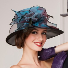 Ladies ' Smukke Organzastof med Fjer Bowler / Cloche Hat/Kentucky Derby Hatte/Tea Party Hats (196075365)