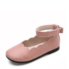 Girl's Leatherette Flat Heel Round Toe Flats With Bowknot Velcro Ruched
