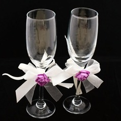 Design simple Verre sans plomb Flûtes à champagne (Lot De 2)