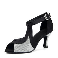 Mulheres Cetim Espumante Glitter Saltos Latino Sapatos de dança