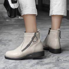 Patent Leather Low Heel Ankle Boots With Zipper shoes