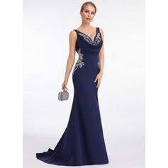 Trumpet/Mermaid V-neck Sweep Train Stretch Crepe Evening Dress With Lace (017198669)