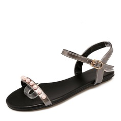 Женщины кожа Плоский каблук Сандалии На плокой подошве Открытый мыс Босоножки с Имитация Перл пряжка обувь