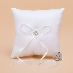 Square Ring Pillow in Satin With Ribbons/Faux Pearl