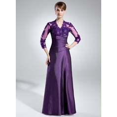 A-Line/Princess V-neck Floor-Length Taffeta Mother of the Bride Dress With Ruffle Lace Beading Sequins