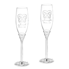 Personalized Bells Glass/Aluminum Toasting Flutes (Set of 2)