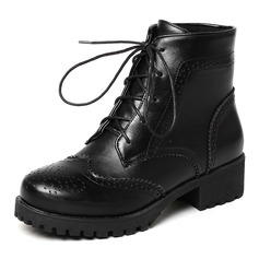 Women's Leatherette Low Heel Boots Mid-Calf Boots With Lace-up shoes