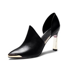 Real Leather Chunky Heel Pumps Closed Toe shoes