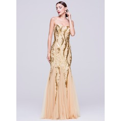 Trumpet/Mermaid Sweetheart Floor-Length Tulle Sequined Evening Dress (017070273)