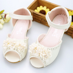 Girl's Peep Toe Microfiber Leather Flat Heel Sandals Flower Girl Shoes With Beading Velcro Flower Hollow-out