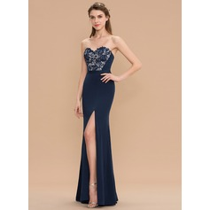 Sheath/Column Sweetheart Floor-Length Lace Jersey Bridesmaid Dress With Split Front