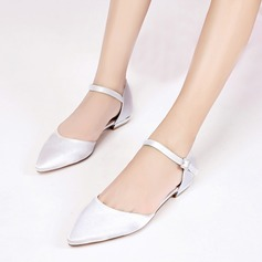 Women's Silk Like Satin Low Heel Closed Toe Flats Sandals With Buckle (047133539)