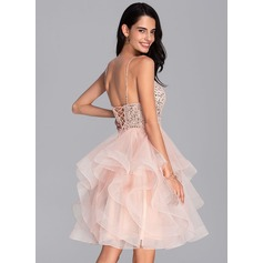 Ball-Gown/Princess V-neck Knee-Length Tulle Homecoming Dress With Beading Sequins