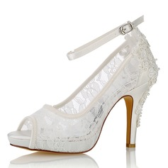 Women's Silk Like Satin Stiletto Heel Peep Toe Platform Pumps With Pearl