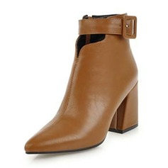 Women's Leatherette Chunky Heel Pumps Boots Ankle Boots With Buckle shoes