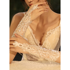 Tulle/Lace Elbow Length Bridal Gloves With Sequins (014219784)