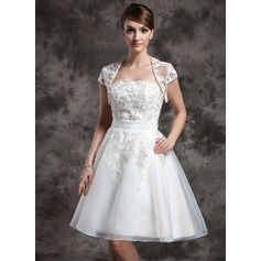 Short Sleeve Tulle Wedding Wrap