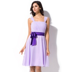 A-Line Knee-Length Chiffon Bridesmaid Dress With Ruffle Sash Bow(s)