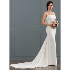 Trumpet/Mermaid Square Neckline Chapel Train Satin Wedding Dress With Beading