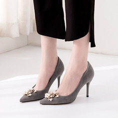Women's Suede Stiletto Heel Pumps Closed Toe With Rhinestone Imitation Pearl shoes (085220208)