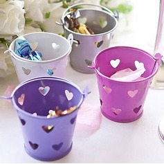 Heart Cut–outs Cylinder Favor Pails (Set of 12)