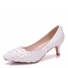 Women's Leatherette Low Heel Closed Toe Flats With Applique