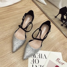 Women's Sparkling Glitter Stiletto Heel Pumps Closed Toe With Lace-up shoes