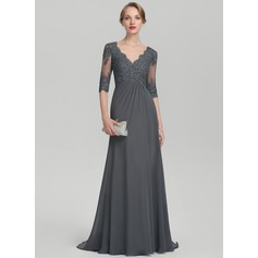 Empire V-neck Sweep Train Chiffon Lace Mother of the Bride Dress With Beading Sequins Cascading Ruffles (008131964)