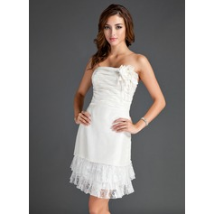 Sheath/Column Strapless Knee-Length Taffeta Homecoming Dress With Ruffle Lace Flower(s)