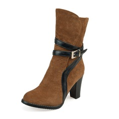 Women's Suede Stiletto Heel Pumps Closed Toe Boots Knee High Boots Mid-Calf Boots With Buckle Zipper shoes