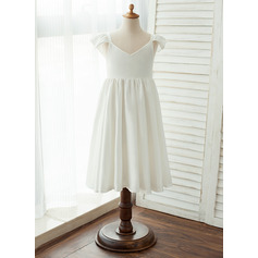 A-Line Tea-length Flower Girl Dress - Chiffon/Satin Sleeveless V-neck (010122555)