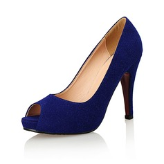Women's Suede Stiletto Heel Pumps Peep Toe shoes (085094486)