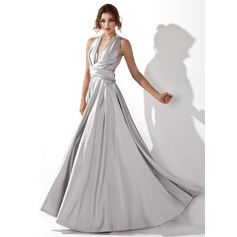 A-Line/Princess V-neck Floor-Length Charmeuse Prom Dress With Ruffle (018109300)
